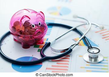graphique, -, budget, diagrammes, concept, stéthoscope, porcin, healthcare, banque