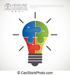 graphique, business, espace, titre, lumière, morceaux puzzle, infographic, conception, ampoule, copie, données
