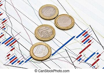 graphique, business, fond, euro, pièces