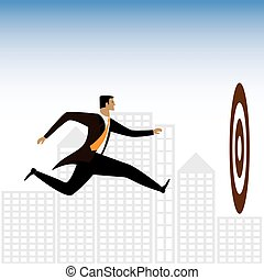 graphique, cadre, -, ou, vecteur, homme affaires, essayer, cibles, réaliser