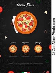 graphique, cafe., restaurant, nourriture, menu, hand-drawn, vecteur, conception, gabarit, griffonnage, pizza, style., éléments, illustration.