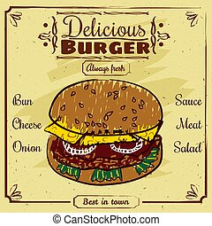 graphique, cafe., restaurant, nourriture, menu, isolé, hand-drawn, éléments, conception, gabarit, griffonnage, vecteur, style.