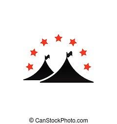 graphique, camping, étoiles, tente