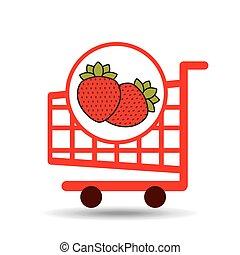 graphique, chariot, fraise, fruit, icône