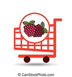 graphique, chariot, fruit, framboise, icône