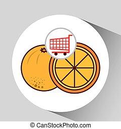 graphique, chariot, fruit, orange, icône