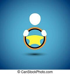 graphique, chauffeur auto, symbol-, vecteur, voiture, véhicule, ou, icône