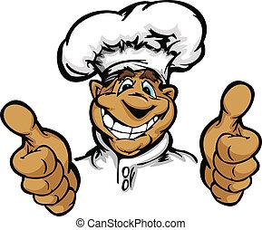 graphique, chef cuistot, vecteur, sourire, cuisine, chapeau, dessin animé, mascotte