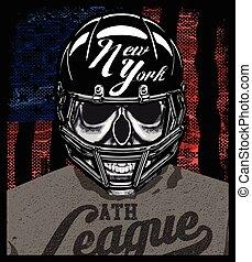 graphique, chemise, crâne, joueur football, conception, t