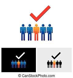graphique, choix, -, embauche, vecteur, droit, employé, candidate., ou, ouvrier