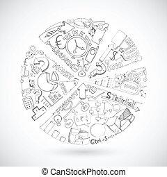graphique circulaire, croquis