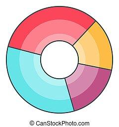 graphique circulaire, icône, dessin animé, style