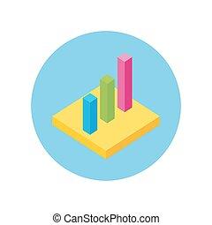 graphique circulaire, plat, signe, design., isométrique