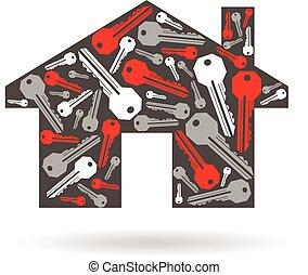 graphique, clés, maison, illustration, vecteur, conception, logo.