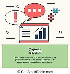 graphique, coloré, business, morceaux, puzzles, infographic, économique, croissant, parole, bulles, constitué