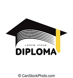 graphique, coloré, casquette, trois, remise de diplomes, carrée, universitaire, gabarit, logo