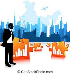 graphique, communiquer, business, barres, puzzle, homme, ville, fond