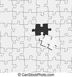 graphique, concept, dehors, vecteur, morceau, puzzle, illustration., idée, disparu