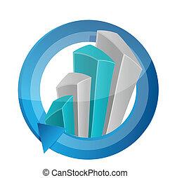 graphique, conception, illustration affaires, cycle