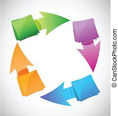 graphique, couleur, poteaux, illustration, conception, cycle