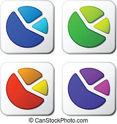graphique couleur, vecteur, tarte, icônes