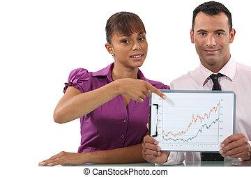 graphique, couple, business, pointage