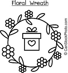 graphique, couronne, illustration, vecteur, conception, fleur