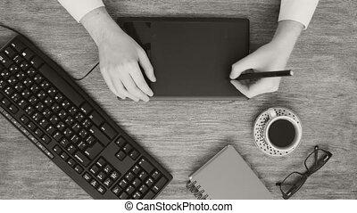 graphique, créatif, concepteur, bureau noir, professionnel, blanc