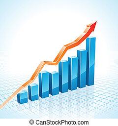 graphique, croissance affaires, barre, 3d