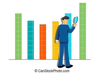 graphique, croissance, homme affaires