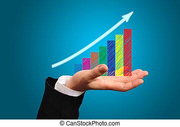 graphique, croissance, mâle, business, main