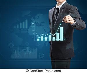 graphique, croissance, mand, dessin, business