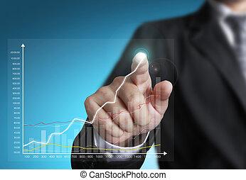 graphique, croissance, pointage, homme affaires