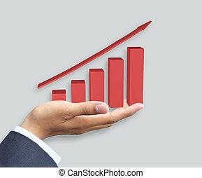 graphique, croissance, tenant main