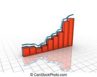 graphique, croissance, tridimensionnel