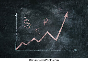 graphique, de, inflation, craie, sur, a, tableau noir
