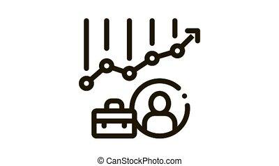 graphique, diagramme, cas, métier, icône, avatar, animation, chasse