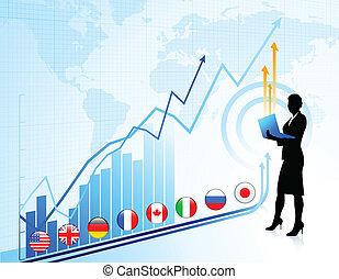 graphique, diagramme, fond, femme affaires