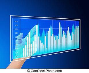 graphique, diagramme, homme affaires, toucher, diagramme, virtuel, main
