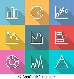 graphique, diagrammes, contour, icones affaires