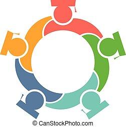 graphique, diplômés, vecteur, conception, cercle, logo.