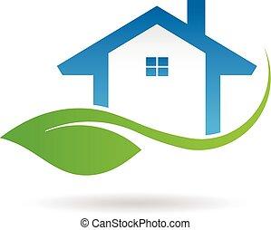 graphique, eco, maison, vecteur, conception, logo., amical