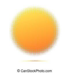 graphique, effect., vendange, symbole, ou, tache, jaune, halftone, fond, endroit, retro, soleil, numérique, text., modèle, formes, disque, ton, rond, points