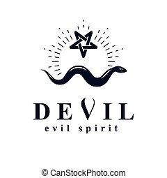 graphique, emblem., symbole., vecteur, serpent, pentacle, ...