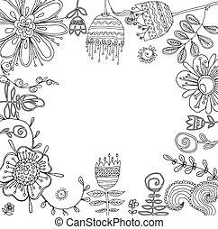 graphique, ensemble, coloration, conception, floral, livre, éléments