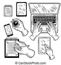 graphique, ensemble, lieu travail, mains