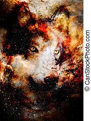 graphique, espace, collage., magique, fire., multicolore, informatique, loup