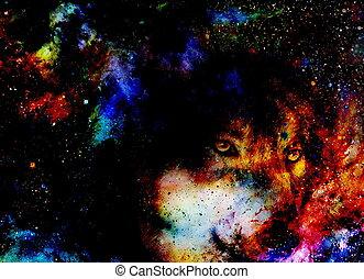 graphique, espace, collage, magique, multicolore, informatique, loup
