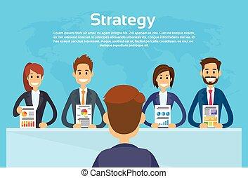 graphique, exposition, conférence, affaires financent, businesspeople