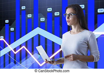 graphique financier, concept